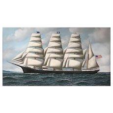 Antonio Jacobsen Marine Oil Painting, Four Masted Barque Roanoke Under Full Sail, 1914