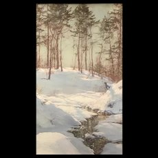 Walter Launt Palmer Mixed Media Gouache & Pastel Painting, An Early Snow