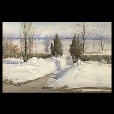 Alice Helm French Winter Landscape Pastel Painting, A Path Through The Drifts, 1908