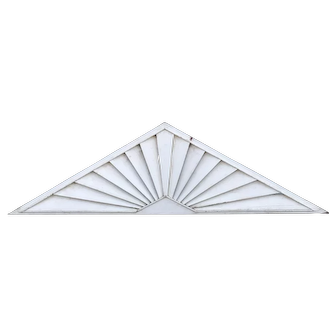 19th / 20th c Painted Wooden Louvered Triangle Architectural Transom or Door Fan