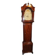 18th c W. Johnson, Evesham English Mahogany Tall Case Clock