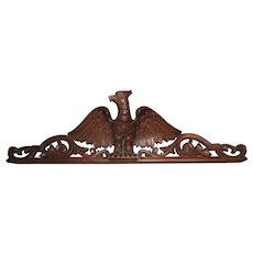 Vintage Hand Carved Wooden Eagle Pediment