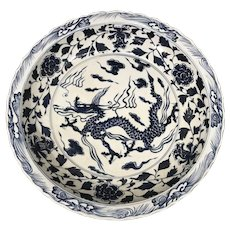 Large Chinese Blue and White Porcelain Charger with Xuande Mark