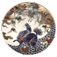 19th c Japanese Imari Polychrome Porcelain Charger with Dragon