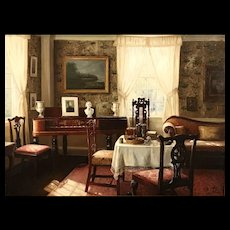 S.H. Lee Oil Painting of an Interior Scene