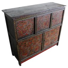 Late 19th c Polychrome Five Door Pine Tibetan Cabinet with Flying Dragons