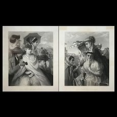 After William Holyoake, Pair of English Prints - Our Party At The Derby, Our Party at the Oaks