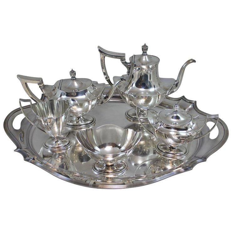 Plymouth Pattern Gorham Sterling Silver Coffee Tea Service Or Set With Serving Tray For J E