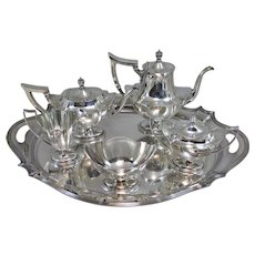 Plymouth Pattern Gorham Sterling Silver Coffee / Tea Service or Set with Serving Tray For J.E. Caldwell & Co