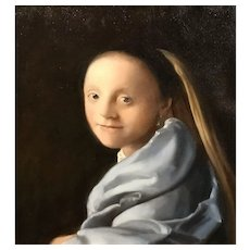 Mary Phillips Oil Painting Portrait of a Young Woman, After Johannes Vermeer