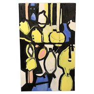Roz Park Modernist Abstract Oil Painting, Lemons