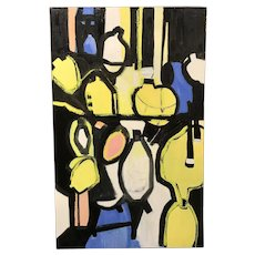 Roz Park Modernist Abstract Oil Painting, Lemons