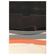 Chris Myott Abstract Oil Painting - Dead Cliff: Grey, Salmon
