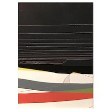 Chris Myott Abstract Oil Painting - Bank: Grey, Red, Yellow