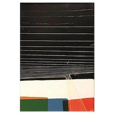 Chris Myott Abstract Oil Painting - Lock: Orange, Blue, Red