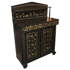 Empire Ebonized Chiffonier with Gilt Figural and Foliate Decoration