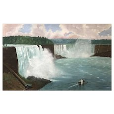19th c American School Folk Art Oil Painting Landscape of Niagara Falls