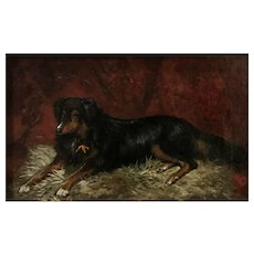 Scott Leighton 19th Century Oil Painting Portrait of a Lying Dog