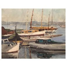 Mary Suehanna Darter Coleman Oil Painting of a Harbor View with Boats