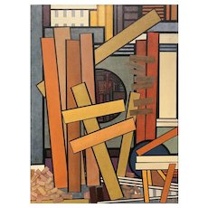 Mavis Pusey Colorful Abstract Oil Painting, Untitled