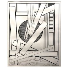 Mavis Pusey Abstract Graphite & Pencil Drawing, Draining V