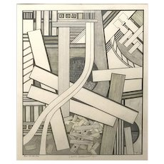 Mavis Pusey Abstract Pencil-Pen and Ink Wash, Chaotic Environment A+1