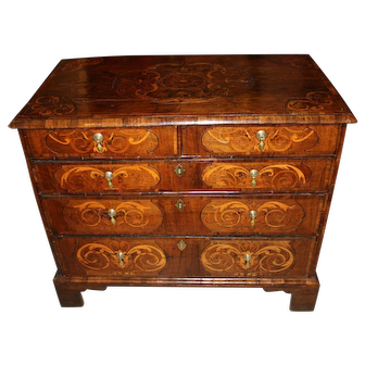 William & Mary Five-Drawer Walnut Chest with Exceptional Marquetry, circa 1710