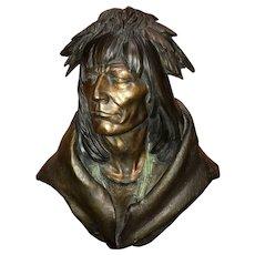 Dan Garrett Cast Bronze Portrait Bust of Native American 1992, 16/21