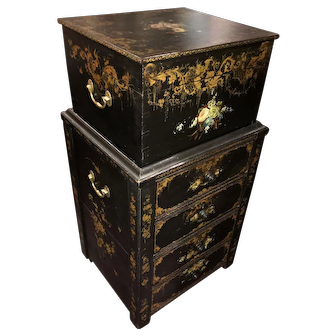 Rare English Two-Piece Ladies Painted Campaign Chest or Travel Companion
