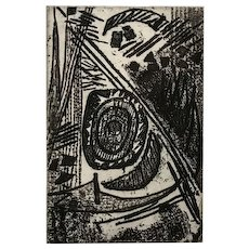 Mavis Pusey Abstract Etching, Artist's Proof, K-P Impulse-1