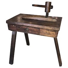 19th c European Elmwood Portable Flower Press