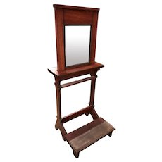 Early 20th c Oak Portable Religious Prayer Confessional with Original Screen