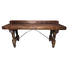 19th Century Continental Counter, Workbench, or Server with Crest Rail