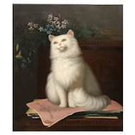 19th c Genre Oil Painting American School Portrait of a Cat