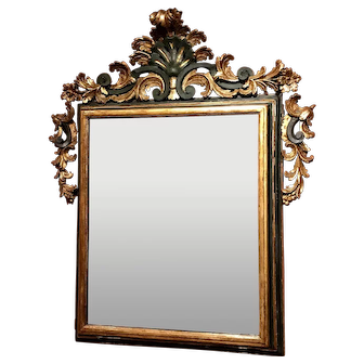 18th Century Italian Rococo Gilt Mirror with Exceptional Carved Crest