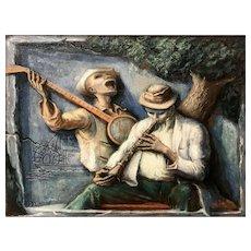 Albert Pels Impressionist Southern Jazz Music Oil Painting, Hot Licks