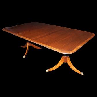 Georgian Style Double Pedestal Mahogany Dining Table with Splendid Leg Inlay