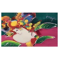 Peter Max Mixed Media Acrylic Painting on Color Lithograph, Women in Love, 2006