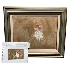 Disney Artist Tyrus Yu Wong Oil Painting with Copy of Christmas Greeting Card Proof