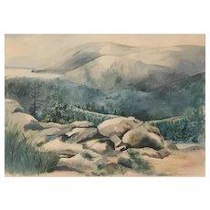 Alice V. Boyer Watercolor of a Mountainous Landscape
