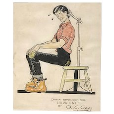 Alfred Gerald Caplin (aka Al Capp) Original Watercolor Drawing with Li'l Abner Yokum