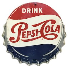 Vintage Metal Cutout Pepsi Cola Bottle Cap Sign circa 1950's