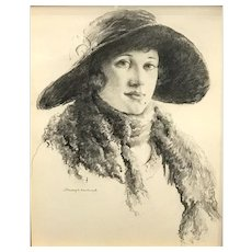 Stanley Wingate Woodward Pencil Sketch of a Woman circa 1918
