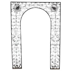 Black Painted Iron Arched Garden Trellis with Scrolled Decoration