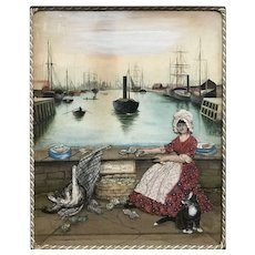 Folk Art Watercolor Diorama of a Harbor Scene with Woman & Two Cats, Fresh Oysters