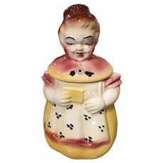 Vintage American Bisque Pottery Smiling Grandma Cookie Jar 1950's