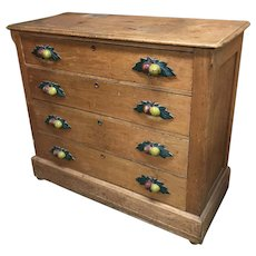 19th c Pine Four Drawer Cottage Chest with Acorn Pulls