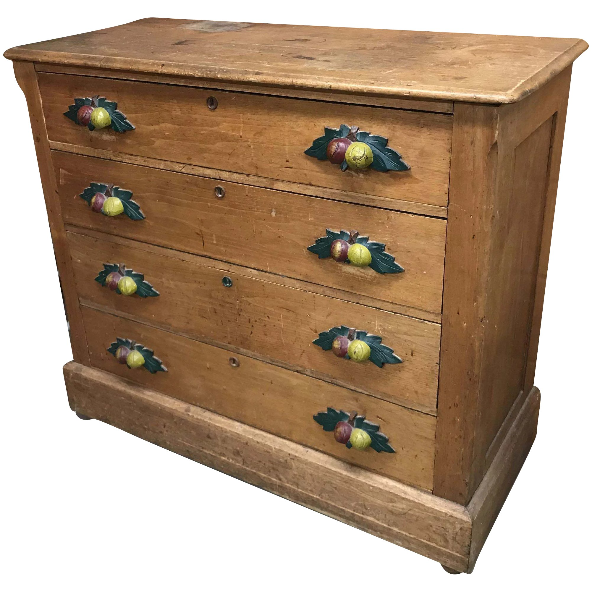 19th C Pine Four Drawer Cottage Chest