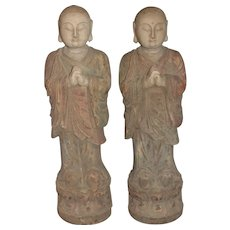 Pair of Chinese Tibetan Wooden Carved Polychrome Buddhist Monk Statues c1896