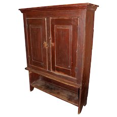 Rare Primitive 19th Century Hutch Cupboard with Blind or Paneled Doors